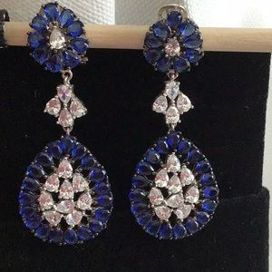 Jewelry - Lab created sapphire and CZ chandelier earrings